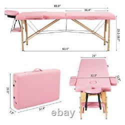 2-Folding Massage Table Portable Facial SPA Bed Tattoo Salon Beauty Health 84
