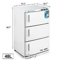 48L Towel Warmer UV Sterilizer Heat 3 Doors Cabinet Salon Spa Beauty Equipment