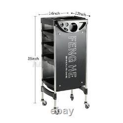 4 Drawers Salon SPA Trolley Storage Cart Beauty Hair Dryer Holder Equipment USA