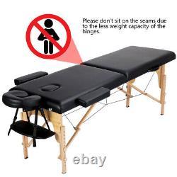 84''L Massage Table 2-Fold Adjustable Portable Spa/Salon/Tattoo/Beauty Bed Black