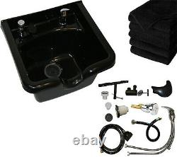 ABS Plastic Salon Shampoo Bowl Sink with Fixtures & Towels Spa Beauty Furniture