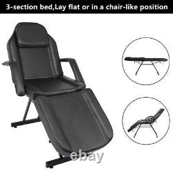 Adjustable Beauty Salon SPA Massage Bed Tattoo Table Chair with Stool Set Black