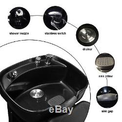 Backwash Chair Unit Shampoo Bowl Spa Sink Double Drain Hair Beauty Salon Station