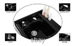 Backwash Sink Station Shampoo Bowl Beauty Spa Salon Hair Barber Equipment Black