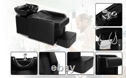 Backwash Unit Ceramic Bowl Sink Barber Chair Shampoo Beauty Spa Salon withFootrest
