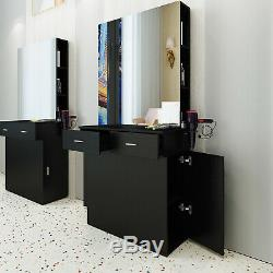 Barber Salon Station Wall Mount Beauty Spa withMirrors Dressing Table Hair Styling