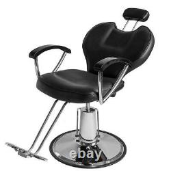 Black All Purpose Recline Hydraulic Barber Chairs Floor Salon Beauty Spa Shampoo