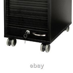 Black Beauty Salon Spa Rolling Trolley 4 Storage Trays &Locking Door Equipment