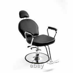Black Hydraulic Recline Barber Salon Chair Styling for Pro Hair Cut Beauty Spa
