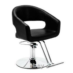 Black Oval Hydraulic Barber Chair Comfort Styling Salon Spa Beauty Equipment