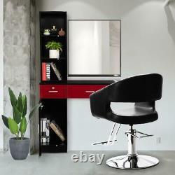 Black Oval Hydraulic Barber Chair Comfort Styling Salon Spa Beauty Equipment