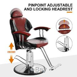 Black+Red Barber Chair Hydraulic Reclining Styling Salon Beauty Spa Equipment