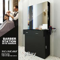 Black Wall Mount Barber Station WithMirror Dressing Table Beauty Spa Salon Styling