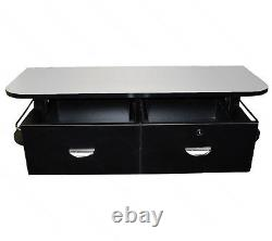 Black Wall Mount Styling Station Stainless Steel Top Salon Spa Beauty Equipment