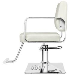 Classic White Hydraulic Barber Chair Salon Styling Beauty Spa Shampoo Equipment