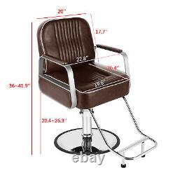 Extra Thicken Heavy Duty Hydraulic Barber Chair Salon Beauty Spa Equipment Brown