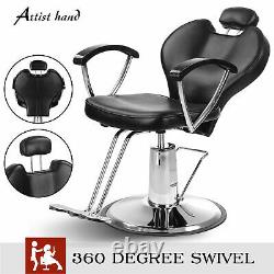 Fashion Reclining Barber Chair Hair Salon Beauty PVC leather Spa Equipment Uk