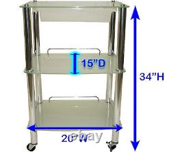 Glass & Chrome Roller Trolley Product Display Shelf Spa Salon Beauty Equipment