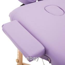HOMCOM Massage Table Beauty Bed Salon Spa Couch Wood Legs Purple Folding