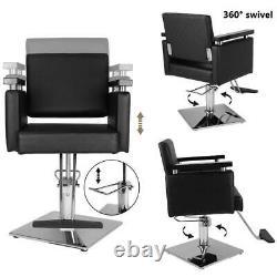 Health Beauty Hydraulic Barber Chair Stylist Stations Salon Spa Haircut Black