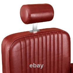Heavy Duty Barber Chair Hydraulic Reclining Beauty Hair Salon Spa Station Red