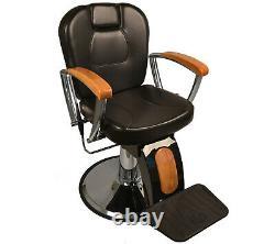 Heavy Duty Classic Oak Reclining Barber Styling Chair Salon Spa Beauty Equipment