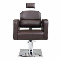 Hydraulic Barber Chair Styling Salon Beauty Shampoo Spa Equipment Black & Brown