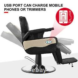 Hydraulic Electric Recliner Barber Chair All Purpose Salon Beauty Spa with USB