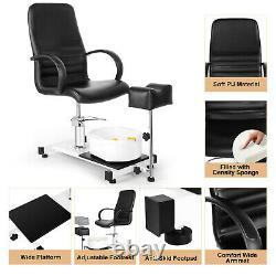 Hydraulic Pedicure Station Chair Footbath Massage Beauty Nail Spa Salon withStool