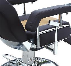 Hydraulic Reclining Barber Chair Salon Beauty Spa Shampoo Hair Style Black Brown