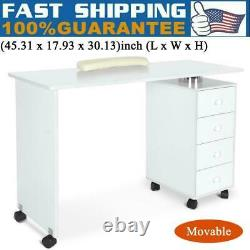 MDF Manicure Nail Table with 4 Drawer Station Desk Spa Beauty Salon Equipment US