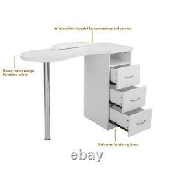 Manicure Nail Table Beauty Salon Spa Acetone Resistant Station Desk White