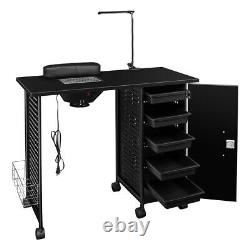 Manicure Nail Table Station Beauty Spa Salon Desk Iron Frame Vented with5 Drawers