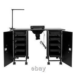 Manicure Nail Table Station Black Steel Frame Beauty Spa Salon Equipment Drawer