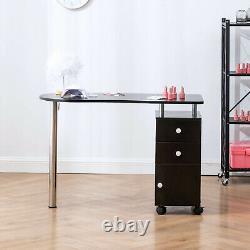 Manicure Nail Table Station Black Wood Frame Beauty Spa Salon Equipment Drawer