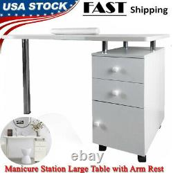 Manicure Nail Table Station Desk Spa Salon Beauty Equipment with 2 Drawers USA