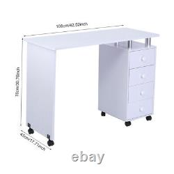 Manicure Nail Table Station Desk Spa Salon Beauty Equipment with 4 Drawers White