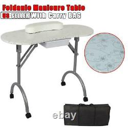 Manicure Nail Table Station Portable Foldable Desk Spa Beauty Salon with Wheel