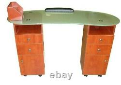Manicure Nail Table Station Spa Beauty Salon Equipment withTempered Frosted glass
