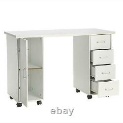 Manicure Nail Table Station Spa Beauty Salon Wheel Desk with Door & 4 Drawers
