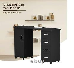 Manicure Nail Table Wood Desk Salon Beauty Spa Mobile Station with 4 Drawers
