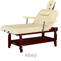Master Massage 31 inch SpaMaster Stationary Spa Salon Beauty Massage Table Cream
