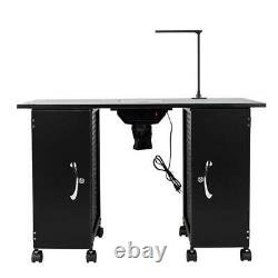 Movable Manicure Nail Table Station Desk Spa Beauty Salon Equipment Practical