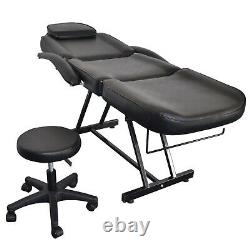 New Adjustable Beauty Salon SPA Massage Bed Tattoo Chair with Stool Black US