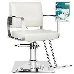 New White Classic Barber Chair Hydraulic Salon Spa Beauty Hair Stylist WithCover