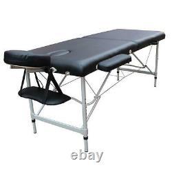 Portable 2 Fold Massage Table Salon SPA Facial Beauty Bed Aluminum Frame Balck