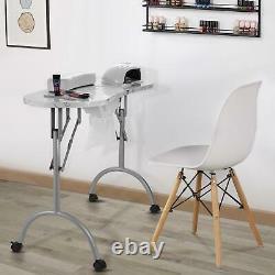 Portable Folding Manicure Nail Table Stylist Station Desk Spa Beauty Salon Black