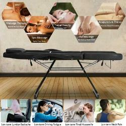 Portable Metal 3 Section Fold Massage Table Salon Spa Chair withTherapy Beauty Bed