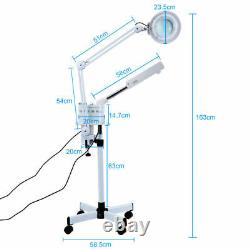 Pro 3 in 1 Hot Ozone Machine Facial Steamer 5X Magnifying Lamp Spa Salon Beauty