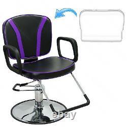 Purple Reclining Hydraulic Styling Barber Chair Hair Salon Spa Beauty Equipment